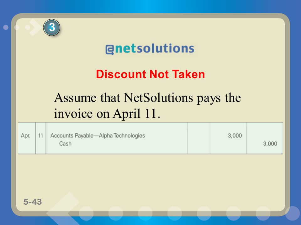 5-43 Discount Not Taken Assume that NetSolutions pays the invoice on April 11. 3