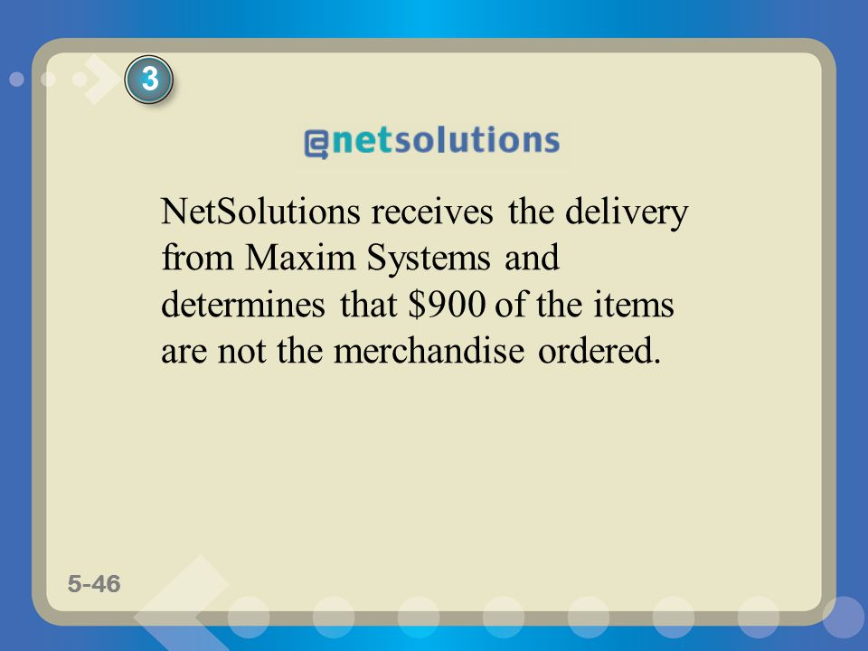 5-46 NetSolutions receives the delivery from Maxim Systems and determines that $900 of the items are not the merchandise ordered. 3