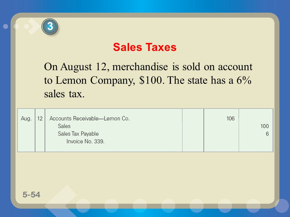 5-54 On August 12, merchandise is sold on account to Lemon Company, $100. The state has a 6% sales tax. Sales Taxes 3