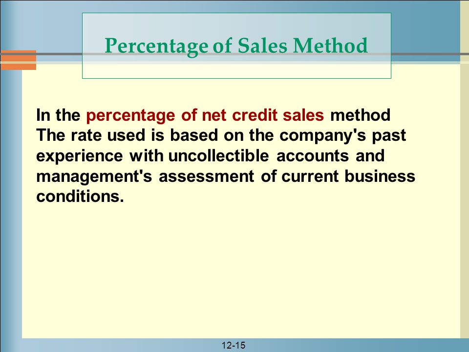 12-15 In the percentage of net credit sales method The rate used is based on the company's past experience with uncollectible accounts and management'