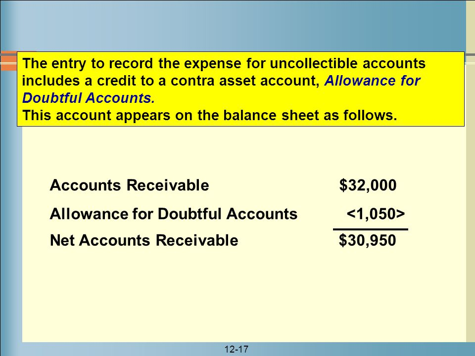 12-17 Accounts Receivable $32,000 Allowance for Doubtful Accounts The entry to record the expense for uncollectible accounts includes a credit to a co