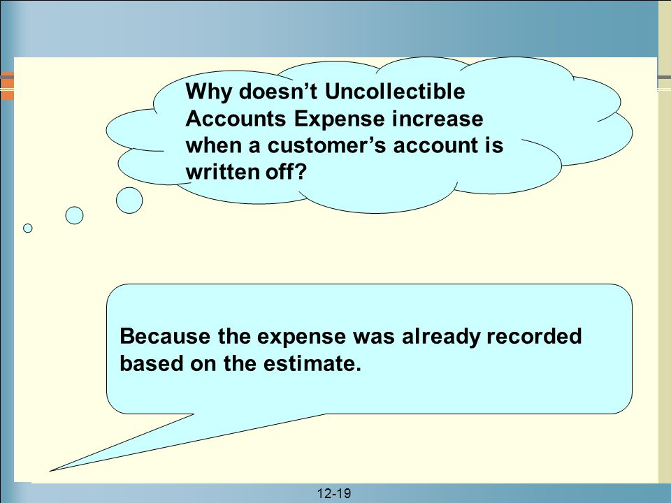 12-19 Why doesn't Uncollectible Accounts Expense increase when a customer's account is written off? Because the expense was already recorded based on
