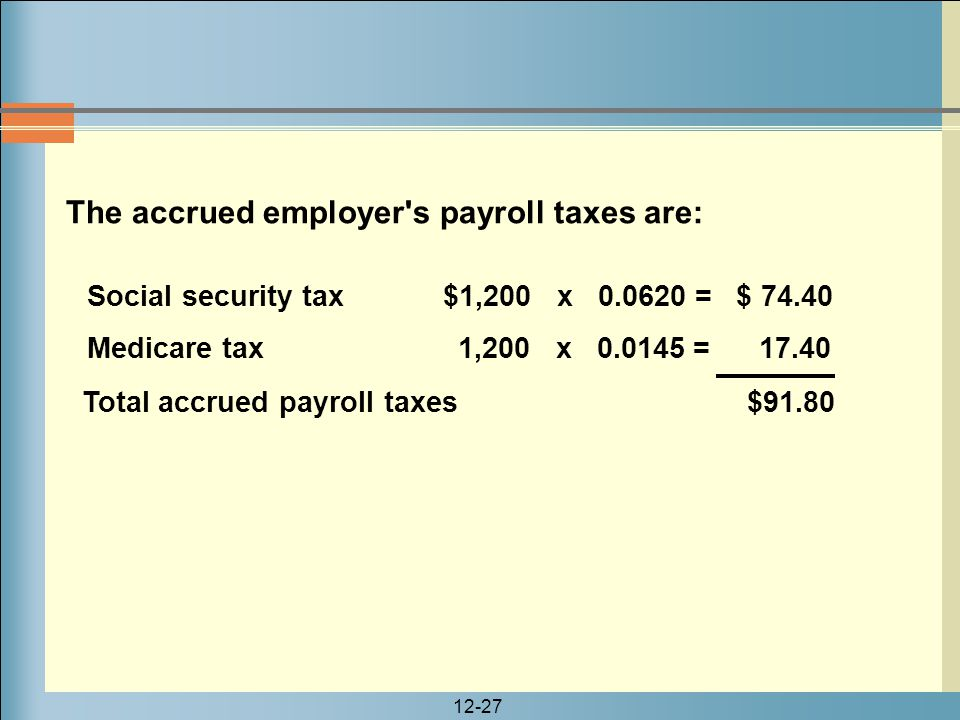 12-27 Social security tax $1,200 x 0.0620 = $ 74.40 Medicare tax 1,200 x 0.0145 = 17.40 Total accrued payroll taxes $91.80 The accrued employer's payr