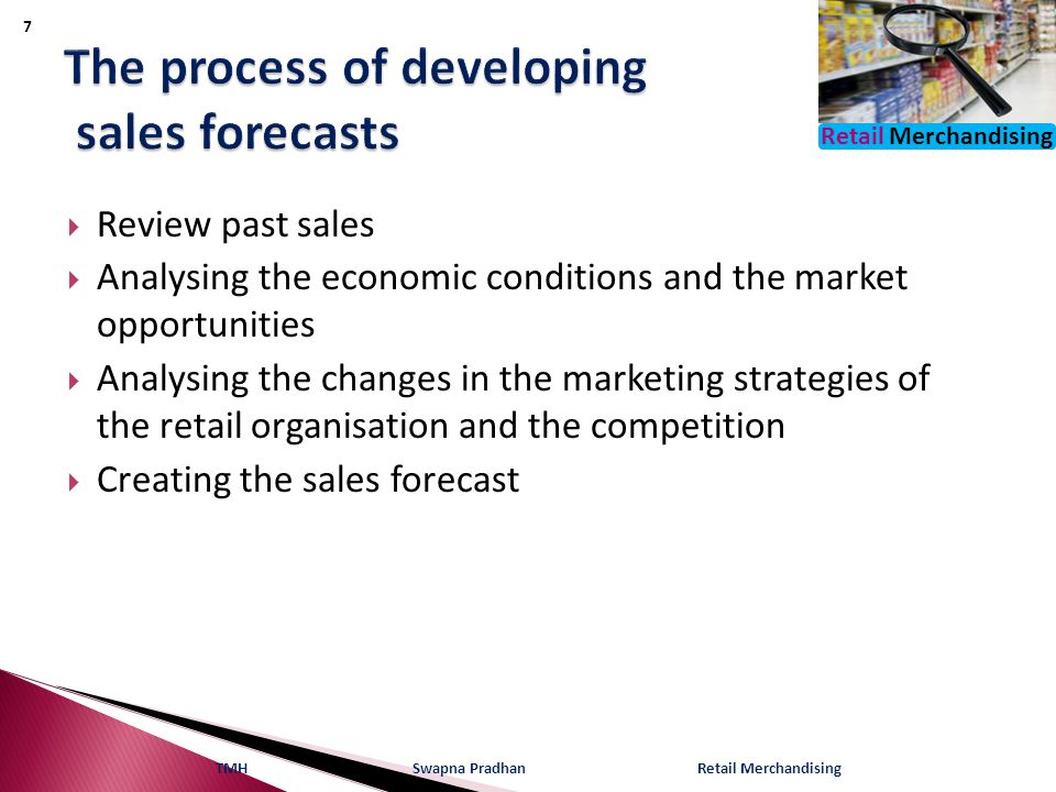 Retail Merchandising  Review past sales  Analysing the economic conditions and the market opportunities  Analysing the changes in the marketing str