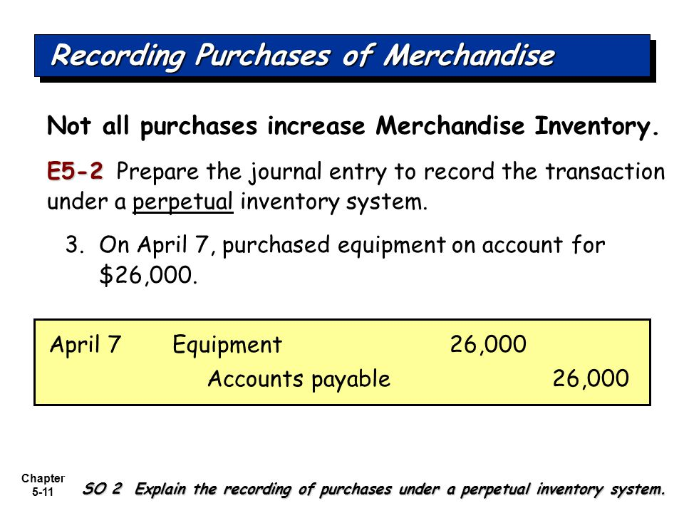 Chapter 5-11 Not all purchases increase Merchandise Inventory. E5-2 E5-2 Prepare the journal entry to record the transaction under a perpetual invento