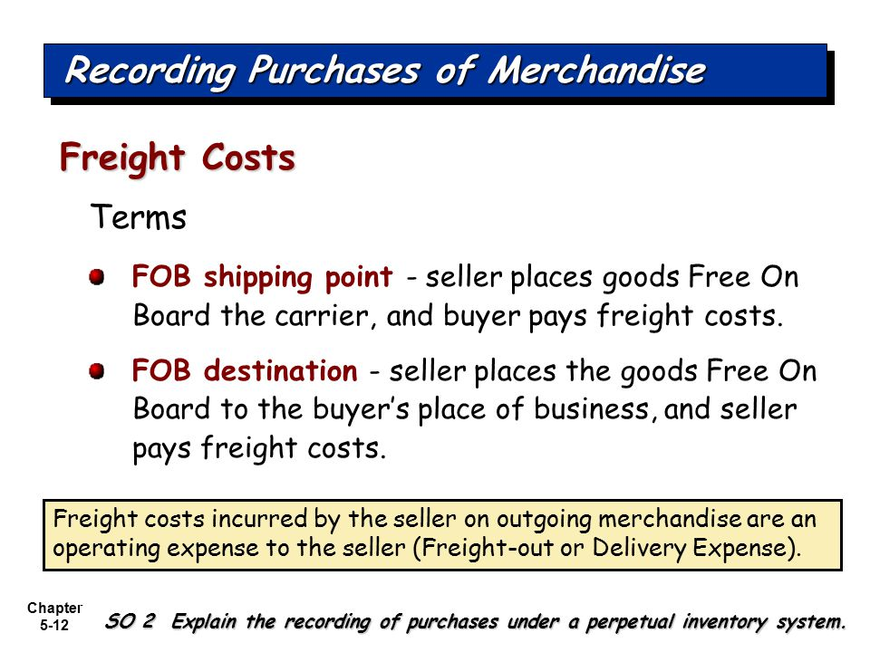 Chapter 5-12 Terms FOB shipping point - seller places goods Free On Board the carrier, and buyer pays freight costs. FOB destination - seller places t