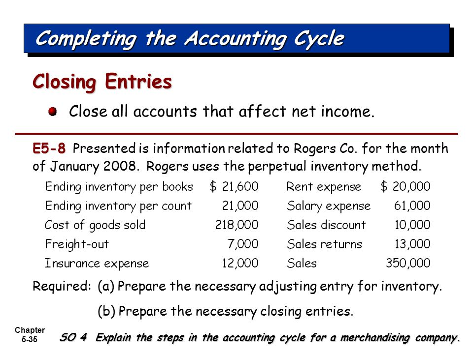 Chapter 5-35 Close all accounts that affect net income. Closing Entries Completing the Accounting Cycle SO 4 Explain the steps in the accounting cycle