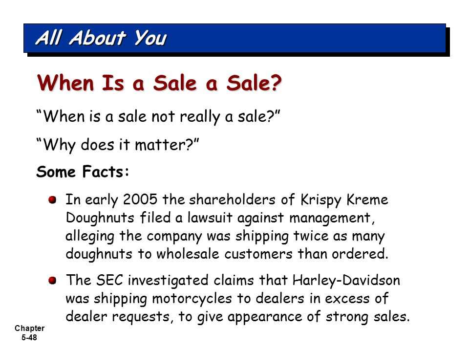 "Chapter 5-48 ""When is a sale not really a sale?"" ""Why does it matter?"" All About You When Is a Sale a Sale? Some Facts: In early 2005 the shareholders"