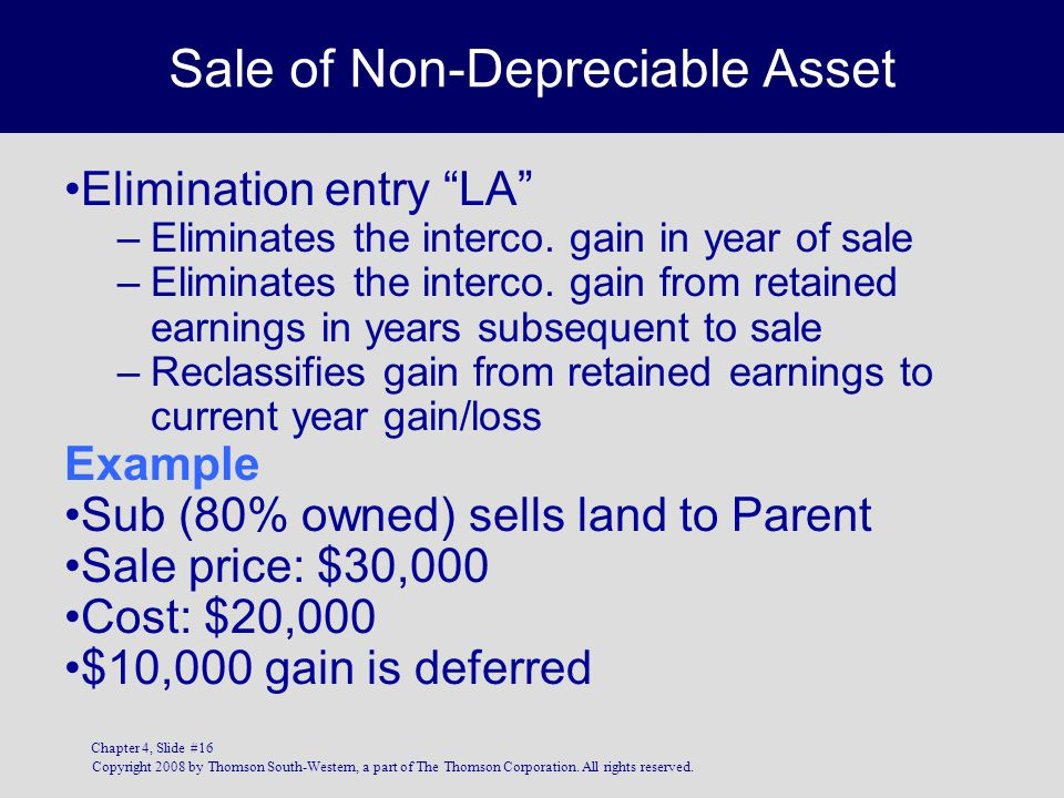 Copyright 2008 by Thomson South-Western, a part of The Thomson Corporation. All rights reserved. Chapter 4, Slide #16 Sale of Non-Depreciable Asset El
