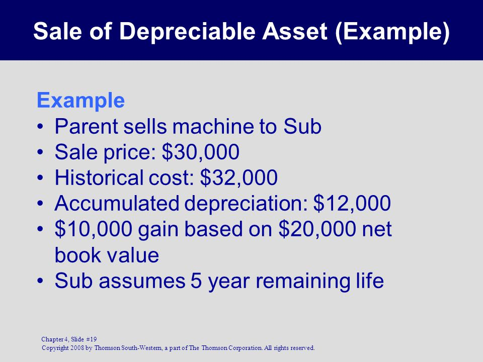 Copyright 2008 by Thomson South-Western, a part of The Thomson Corporation. All rights reserved. Chapter 4, Slide #19 Sale of Depreciable Asset (Examp