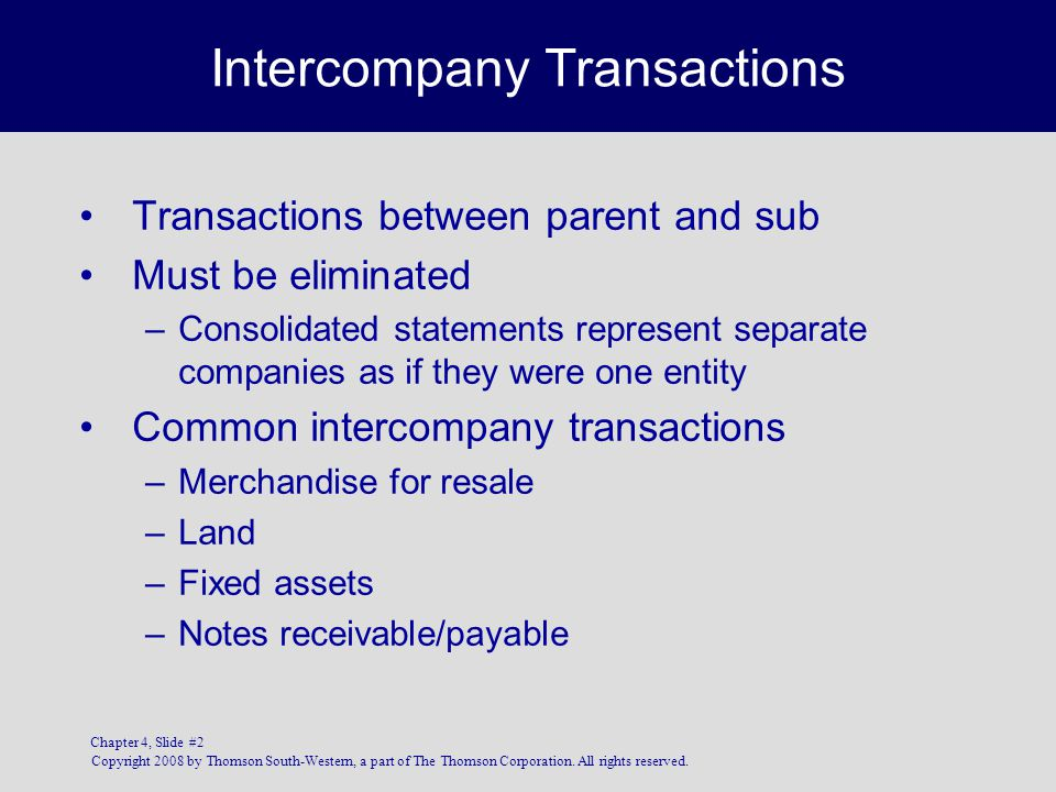 Copyright 2008 by Thomson South-Western, a part of The Thomson Corporation. All rights reserved. Chapter 4, Slide #2 Intercompany Transactions Transac