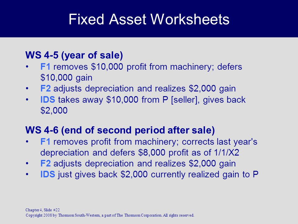 Copyright 2008 by Thomson South-Western, a part of The Thomson Corporation. All rights reserved. Chapter 4, Slide #22 Fixed Asset Worksheets WS 4-5 (y