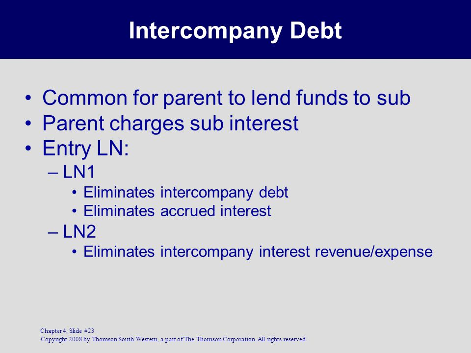 Copyright 2008 by Thomson South-Western, a part of The Thomson Corporation. All rights reserved. Chapter 4, Slide #23 Intercompany Debt Common for par