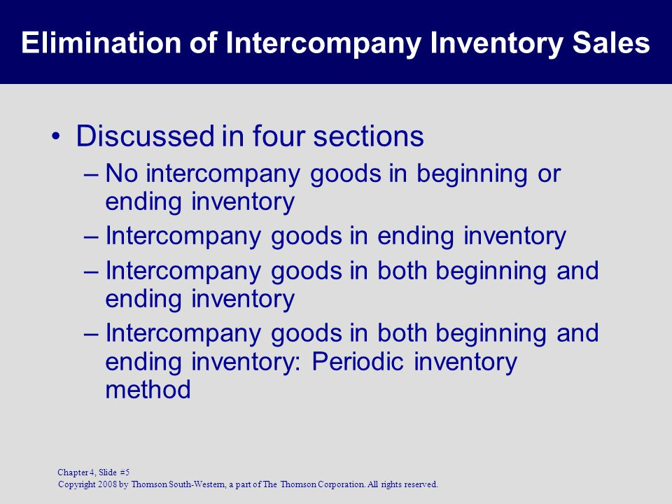 Copyright 2008 by Thomson South-Western, a part of The Thomson Corporation. All rights reserved. Chapter 4, Slide #5 Elimination of Intercompany Inven