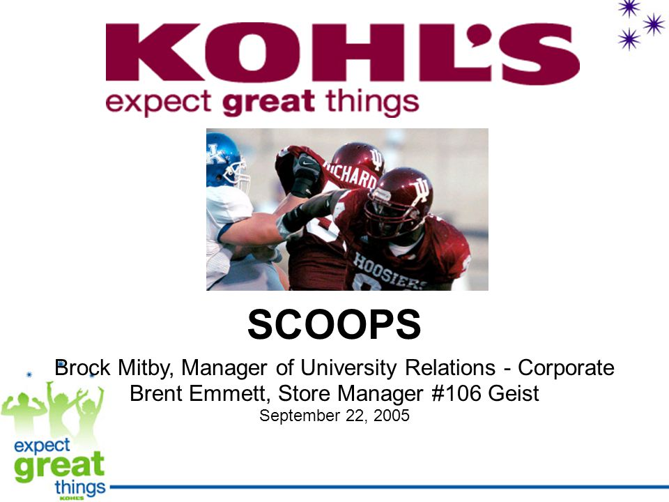 SCOOPS Brock Mitby, Manager of University Relations - Corporate Brent Emmett, Store Manager #106 Geist September 22, 2005
