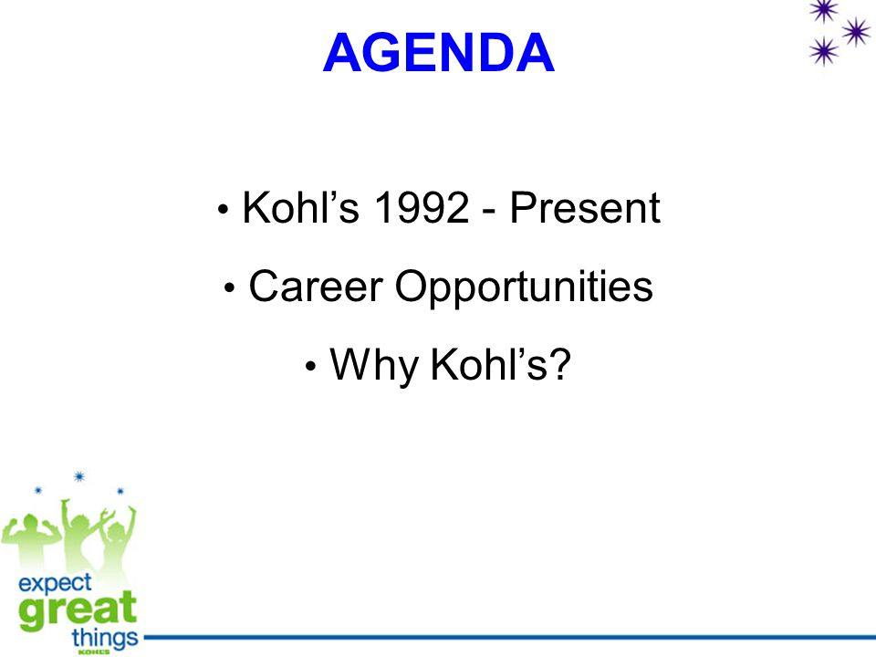 AGENDA Kohl's 1992 - Present Career Opportunities Why Kohl's