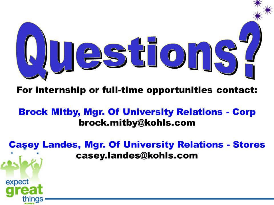 For internship or full-time opportunities contact: Brock Mitby, Mgr.