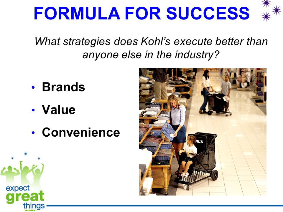 FORMULA FOR SUCCESS Brands Value Convenience What strategies does Kohl's execute better than anyone else in the industry