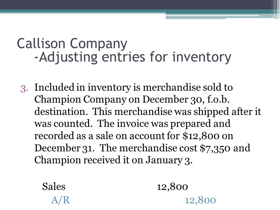 3.Included in inventory is merchandise sold to Champion Company on December 30, f.o.b.