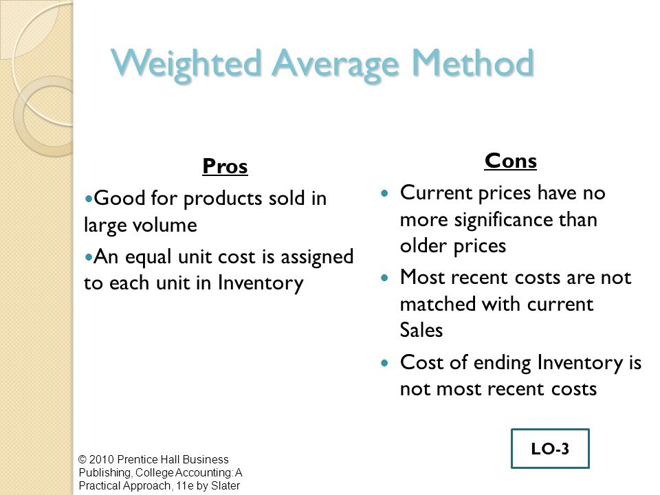 Weighted Average Method Pros Good for products sold in large volume An equal unit cost is assigned to each unit in Inventory Cons Current prices have