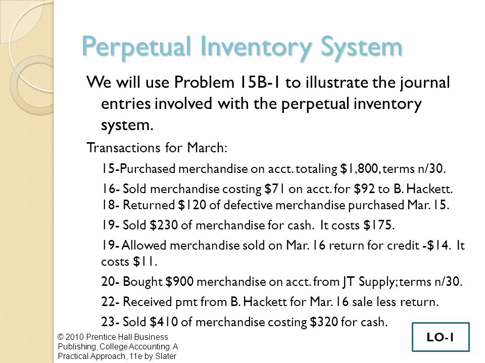 Inventory Valuation Methods- Periodic Inventory System Specific Invoice First In, First Out (FIFO) Last In, First Out (LIFO) Weighted Average © 2010 Prentice Hall Business Publishing, College Accounting: A Practical Approach, 11e by Slater LO-3
