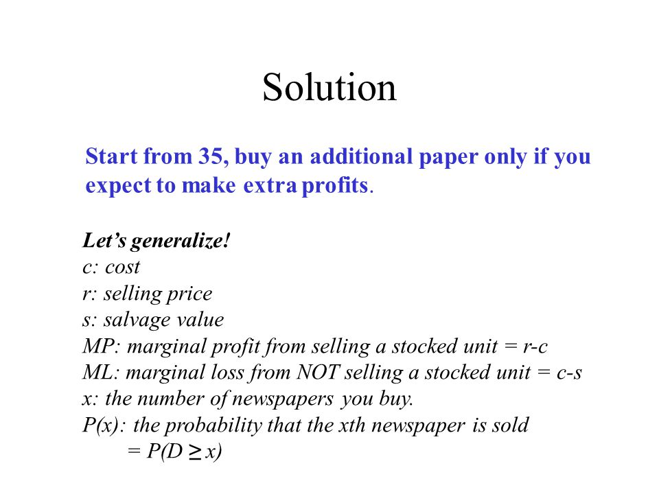 Solution Start from 35, buy an additional paper only if you expect to make extra profits.