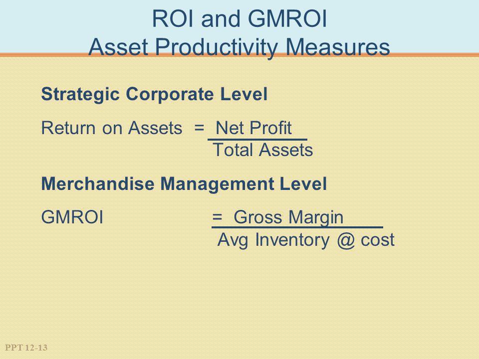 PPT 12-13 ROI and GMROI Asset Productivity Measures Strategic Corporate Level Return on Assets = Net Profit Total Assets Merchandise Management Level