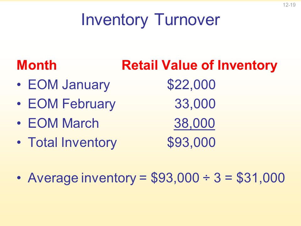 12-19 Inventory Turnover Month Retail Value of Inventory EOM January$22,000 EOM February 33,000 EOM March 38,000 Total Inventory$93,000 Average invent