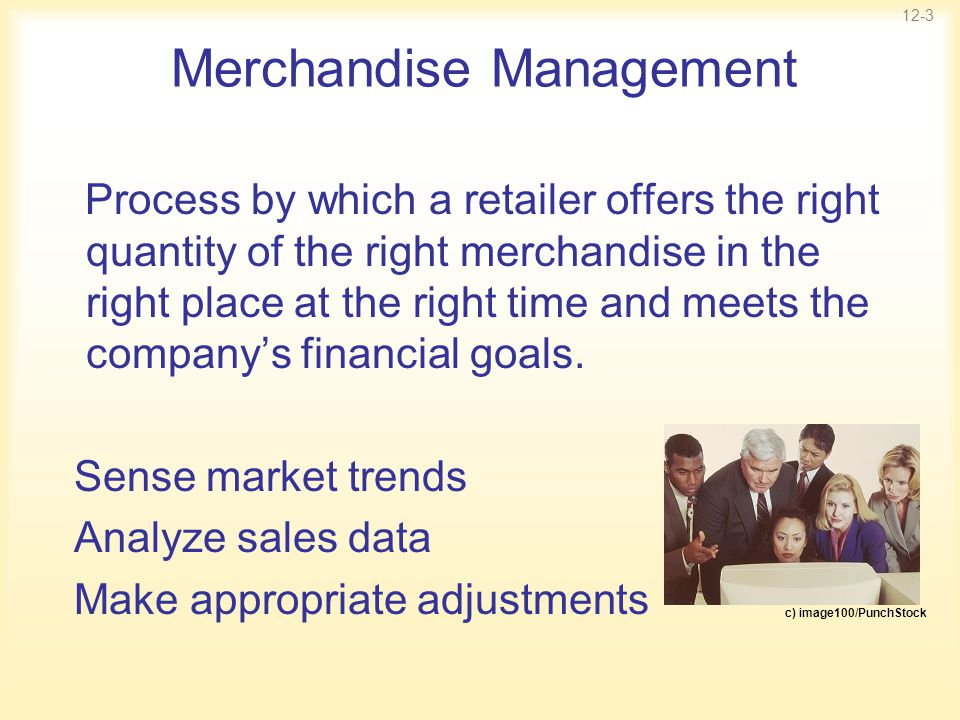 12-3 Merchandise Management Process by which a retailer offers the right quantity of the right merchandise in the right place at the right time and me