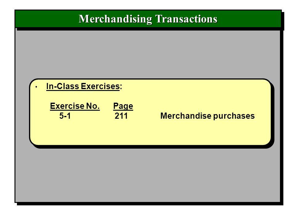 Merchandising Transactions In-Class Exercises: Exercise No. Page 5-1 211 Merchandise purchases In-Class Exercises: Exercise No. Page 5-1 211 Merchandi