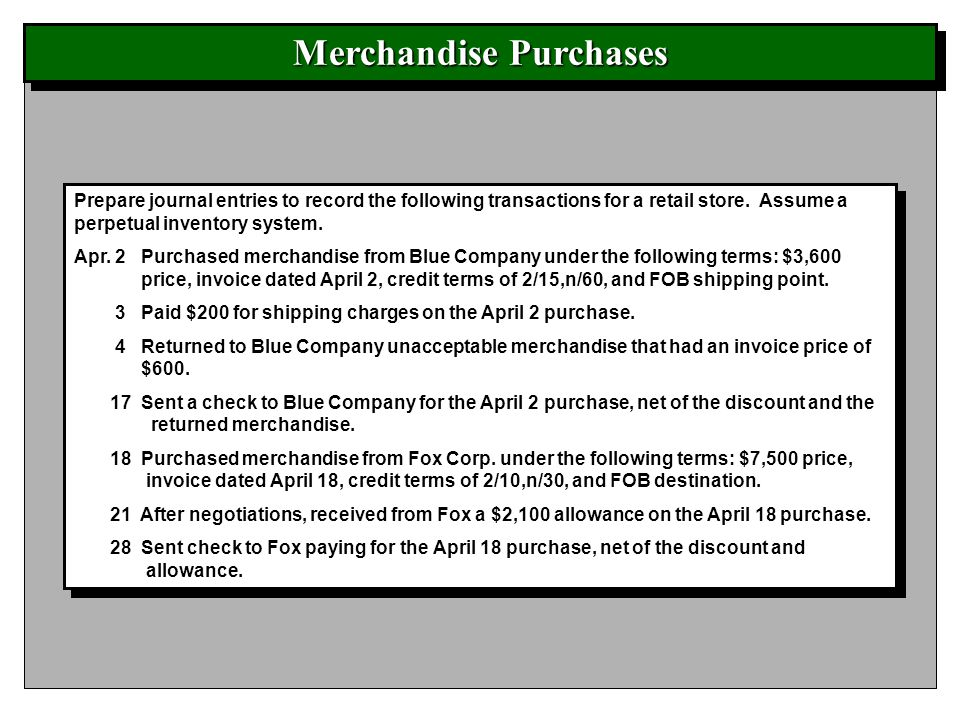 Merchandise Purchases Prepare journal entries to record the following transactions for a retail store. Assume a perpetual inventory system. Apr. 2 Pur