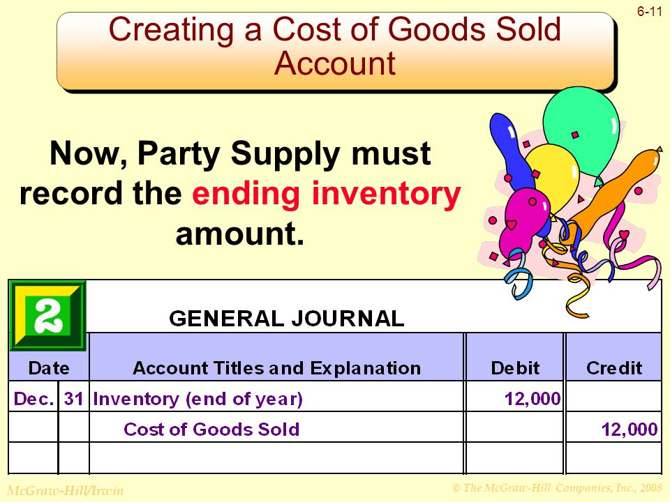 © The McGraw-Hill Companies, Inc., 2008 McGraw-Hill/Irwin 6-11 Creating a Cost of Goods Sold Account Now, Party Supply must record the ending inventory amount.