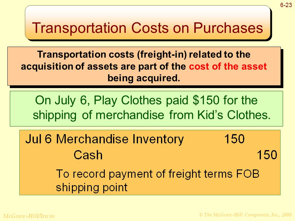 © The McGraw-Hill Companies, Inc., 2008 McGraw-Hill/Irwin 6-23 Transportation Costs on Purchases Transportation costs (freight-in) related to the acquisition of assets are part of the cost of the asset being acquired.