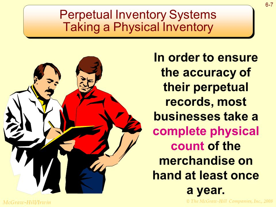 © The McGraw-Hill Companies, Inc., 2008 McGraw-Hill/Irwin 6-7 Perpetual Inventory Systems Taking a Physical Inventory In order to ensure the accuracy of their perpetual records, most businesses take a complete physical count of the merchandise on hand at least once a year.