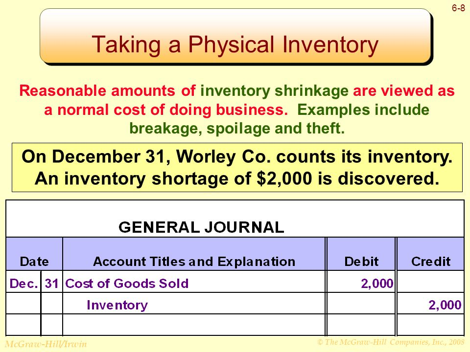 © The McGraw-Hill Companies, Inc., 2008 McGraw-Hill/Irwin 6-8 Taking a Physical Inventory Reasonable amounts of inventory shrinkage are viewed as a normal cost of doing business.