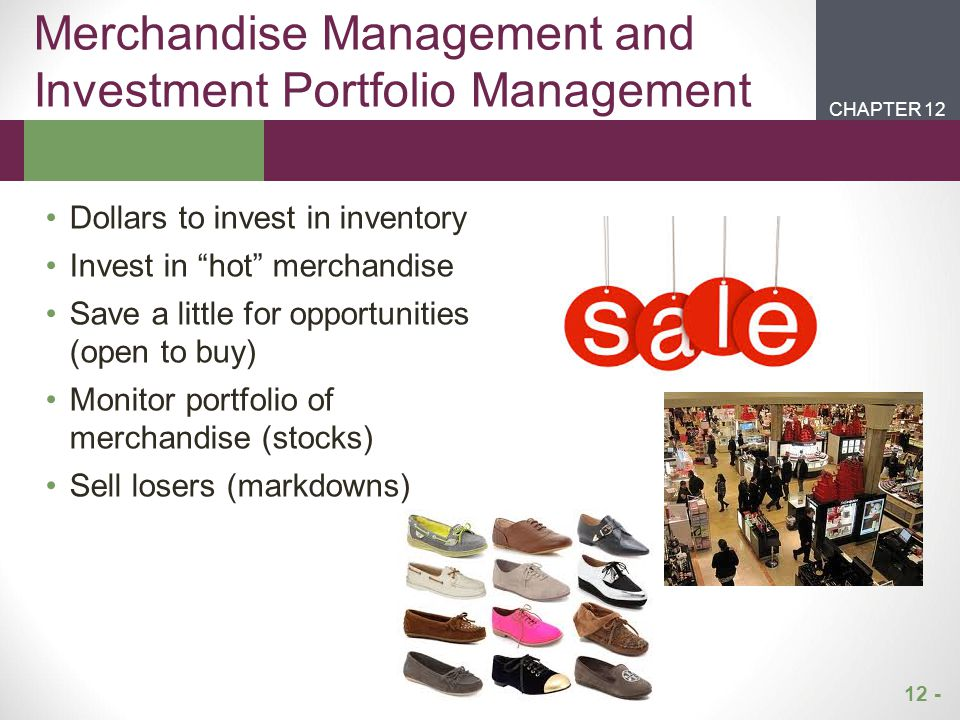 12 - CHAPTER 2CHAPTER 1 CHAPTER 12 Buying Organization Merchandise Group Department Classification Category SKU Each merchandise group is managed by a general merchandise manager (GMM),senior VP Departments are managed by a divisional merchandise manager (DMM), A group of items targeting the same customer type, such as girls' sizes 4-6 Each buyer manages several merchandise categories (e.g., sportswear, dresses, swimwear, outerwear categories for girls' sizes 4-6 The smallest unit available for inventory control Size, color, style
