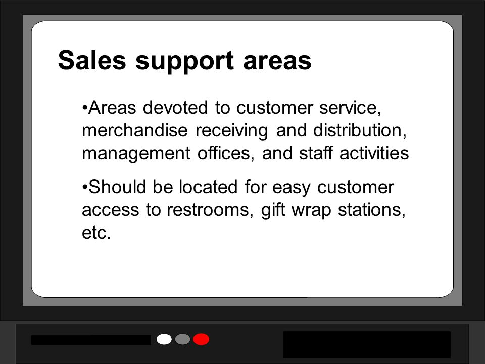 Sales support areas Areas devoted to customer service, merchandise receiving and distribution, management offices, and staff activities Should be located for easy customer access to restrooms, gift wrap stations, etc.
