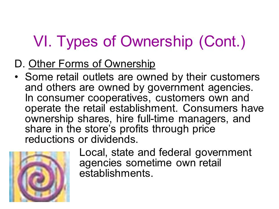 VI.Types of Ownership (Cont.) D.