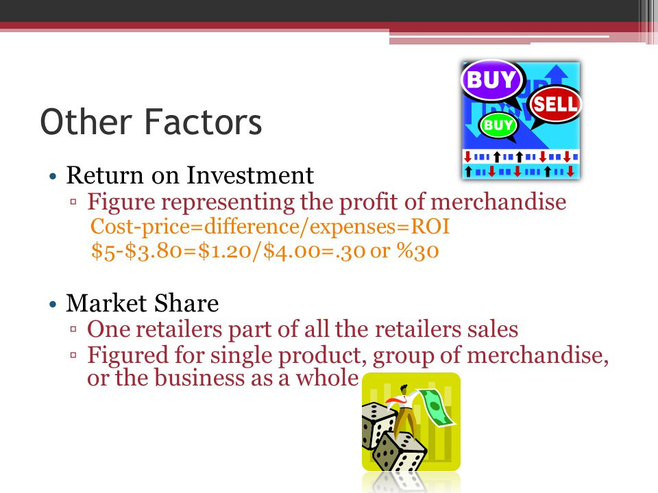 Other Factors Return on Investment ▫Figure representing the profit of merchandise Cost-price=difference/expenses=ROI $5-$3.80=$1.20/$4.00=.30 or %30 Market Share ▫One retailers part of all the retailers sales ▫Figured for single product, group of merchandise, or the business as a whole