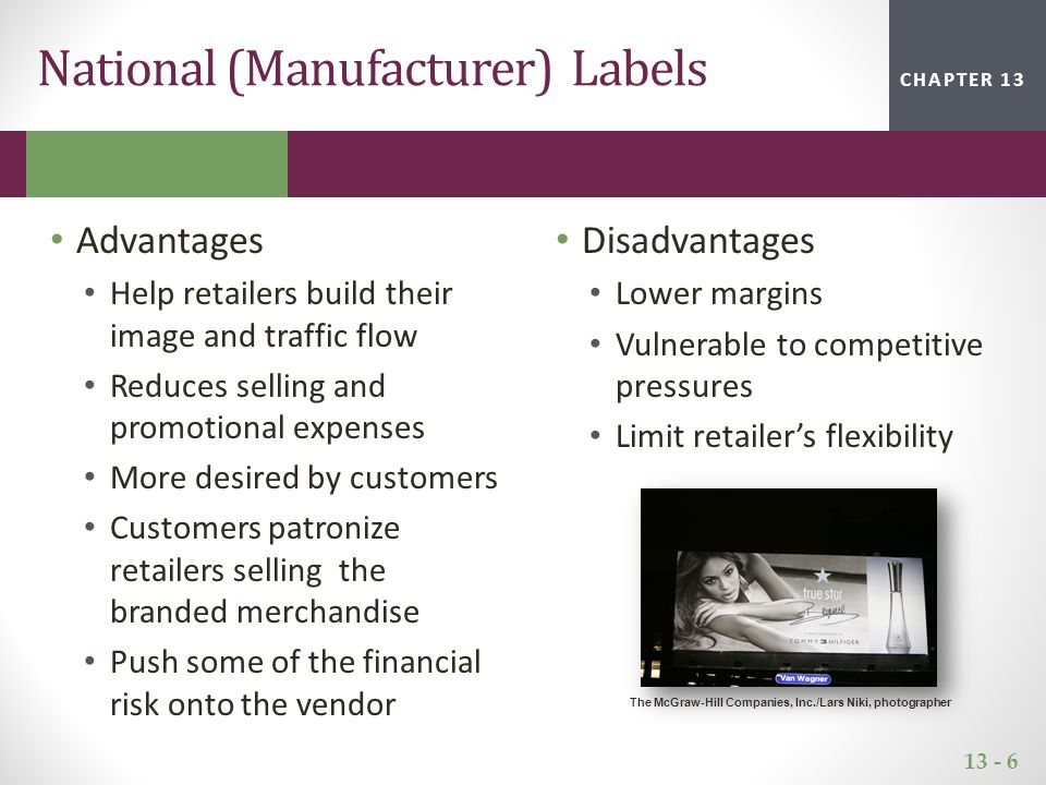 13 - 7 CHAPTER 2CHAPTER 1CHAPTER 13 Advantages Unique merchandise not available at competitive outlets Exclusivity boosts store loyalty Difficult for customers to compare price with competitors Higher margins Disadvantages Require significant investments in design, global manufacturing sourcing Need to develop expertise in developing and promoting brand Unable to sell excess merchandise Typically less desirable for customers Private Labels