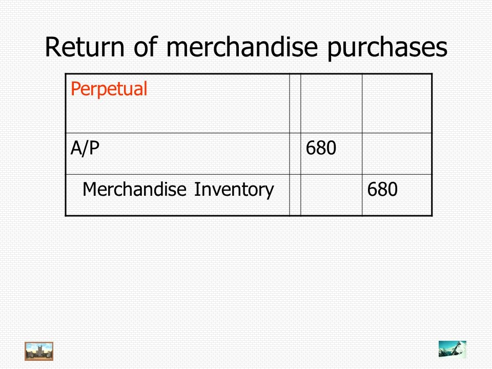 Return of merchandise purchases Perpetual A/P680 Merchandise Inventory680