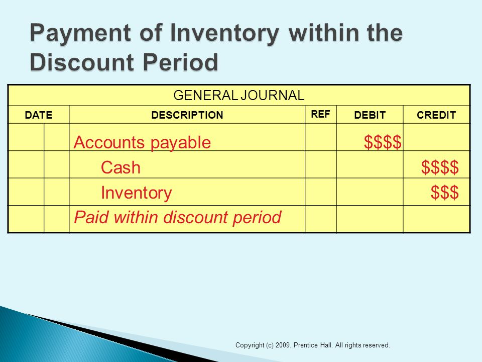 GENERAL JOURNAL DATEDESCRIPTION REF DEBITCREDIT 11 Accounts payable$$$$ Cash$$$$ Inventory$$$ Paid within discount period Copyright (c) 2009. Prentice