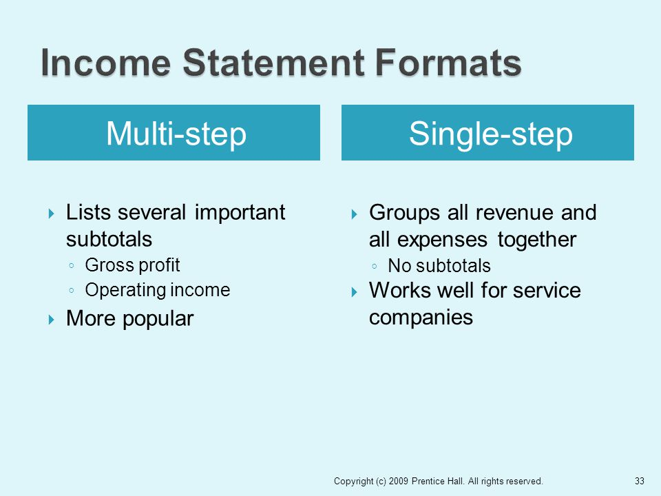 Multi-stepSingle-step  Lists several important subtotals ◦ Gross profit ◦ Operating income  More popular  Groups all revenue and all expenses together ◦ No subtotals  Works well for service companies Copyright (c) 2009 Prentice Hall.