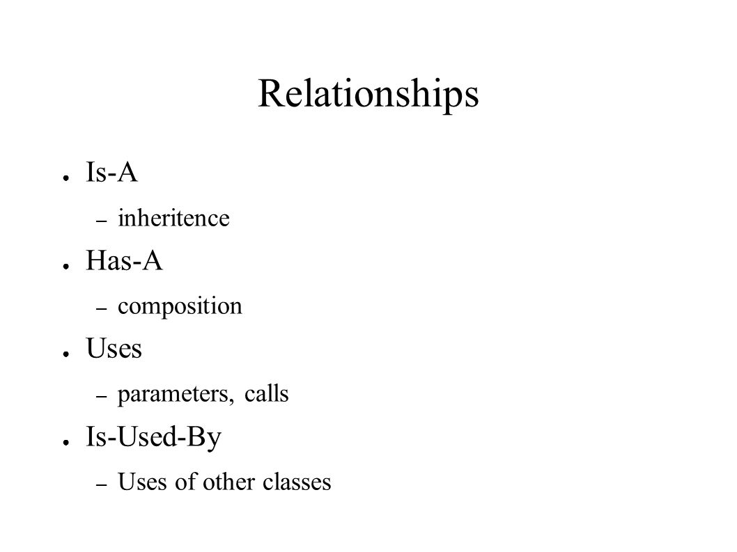 Relationships ● Is-A – inheritence ● Has-A – composition ● Uses – parameters, calls ● Is-Used-By – Uses of other classes