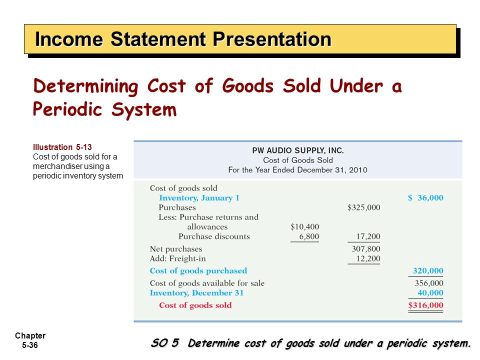 Chapter 5-36 SO 5 Determine cost of goods sold under a periodic system. Determining Cost of Goods Sold Under a Periodic System Income Statement Presen