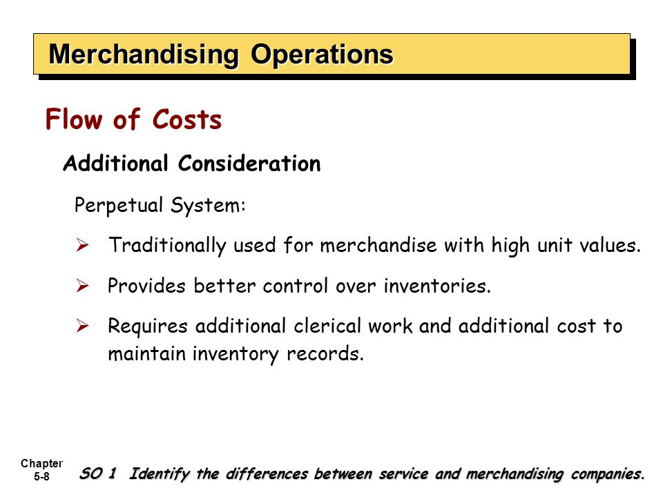 Chapter 5-8 Additional Consideration Perpetual System:  Traditionally used for merchandise with high unit values.  Provides better control over inve