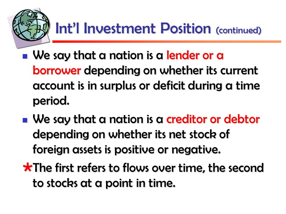 Int'l Investment Position (continued) We say that a nation is a lender or a borrower depending on whether its current account is in surplus or deficit