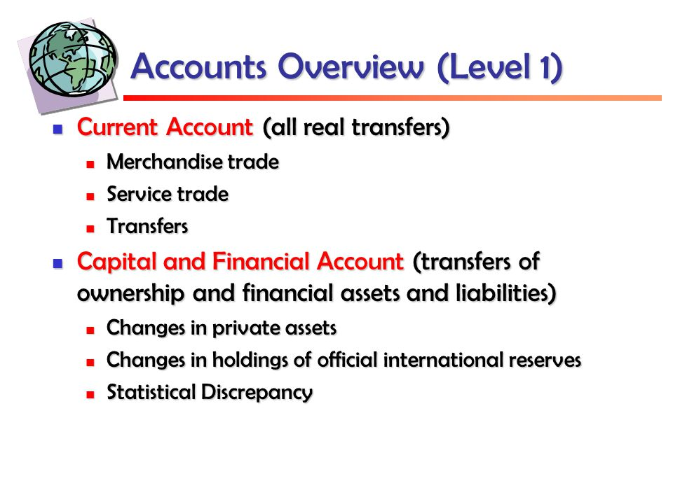 Accounts Overview (Level 1) Current Account (all real transfers) Current Account (all real transfers) Merchandise trade Merchandise trade Service trad