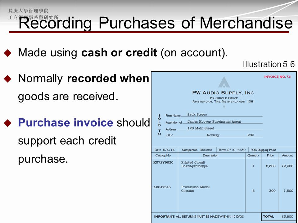  Made using cash or credit (on account). Illustration 5-6  Normally recorded when goods are received.  Purchase invoice should support each credit