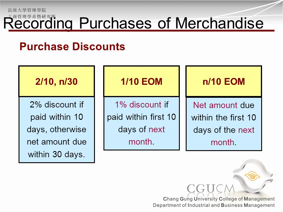 2% discount if paid within 10 days, otherwise net amount due within 30 days. 1% discount if paid within first 10 days of next month. 2/10, n/301/10 EO